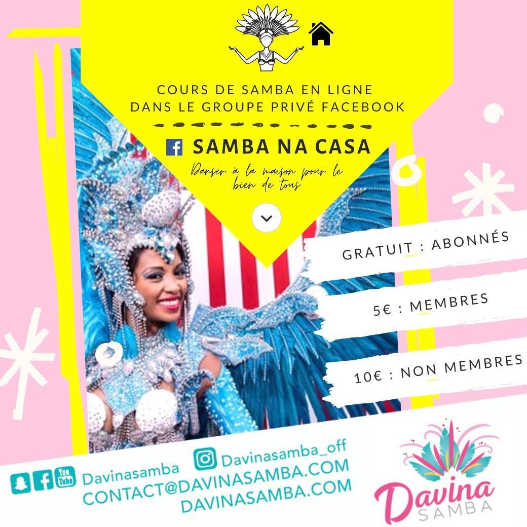"""Cours en live de """"Samba na Casa"""" avec Davina Samba"""